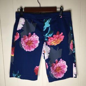 Banana Republic Floral Navy Blue Shorts